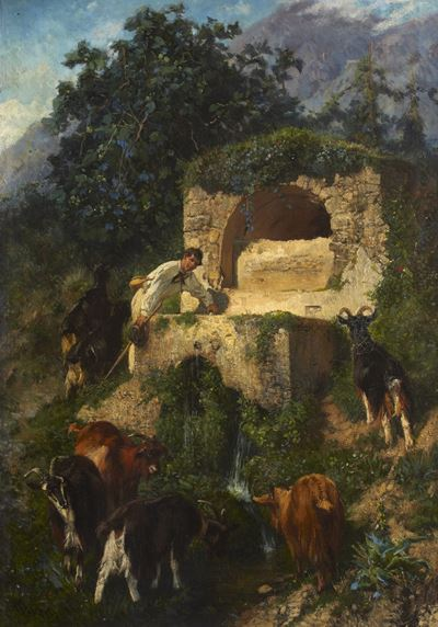 Goats at a Fountain