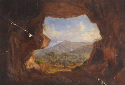 Landscape through a Cave