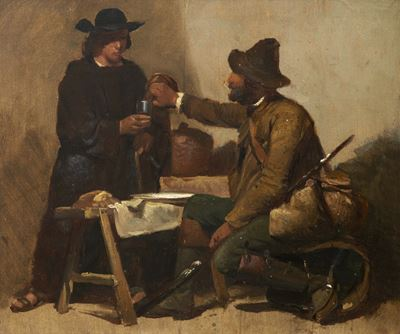 Two Men Drinking in an Interior