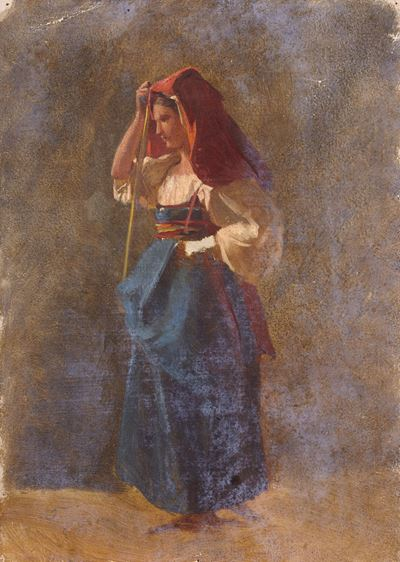Woman in a Blue Dress with a Red Scarf
