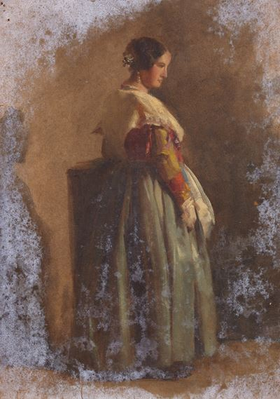 Portrait of a Woman in a Red and Green Dress