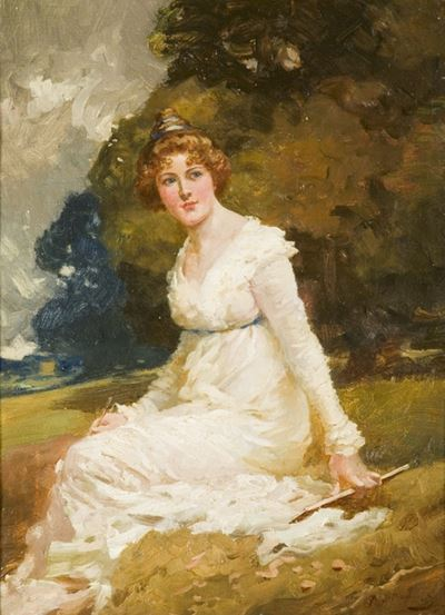 A Lady Seated in a Park