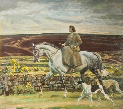 Lady Munnings Riding a Grey Hunter ('Magnolia') Side-Saddle, with Her Dogs on Exmoor