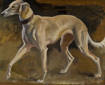 Study of a Dog for Lady Munnings on Grey Hunter