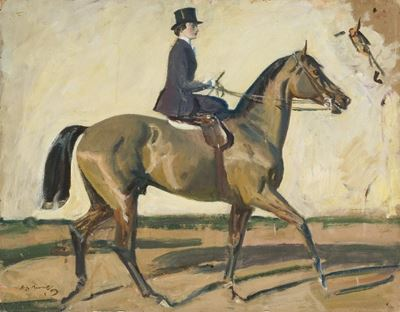 Study for 'Our Mutual Friend the Horse', Lady Munnings Riding Side-Saddle