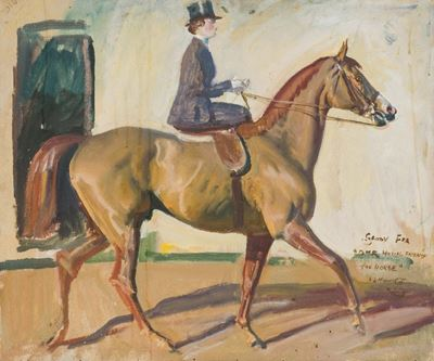 Study for 'Our Mutual Friend the Horse', Lady Munnings on 'Rufus'