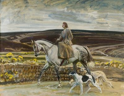 Study of Lady Munnings Riding with Her Dogs on Exmoor