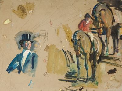 Studies of a Huntsman and His Horse and of Lady Munnings