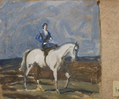 Lady Munnings on a Grey Hunter