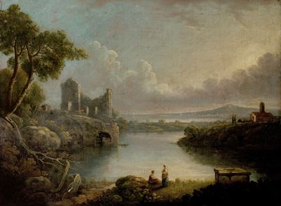 River Scene with Sea and Classical Ruins