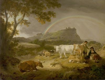 Landscape, Beeston Castle, Cheshire, and Rainbow