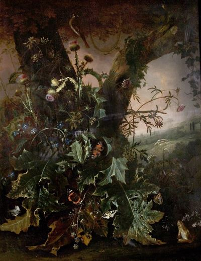 Still Life with Frog and Goldfinch (Thistles and Butterflies)