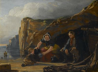 Shore Scene with Figures