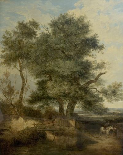 Trees by a Brook (The Willow Tree, a Horseman and a Woman on a Road)