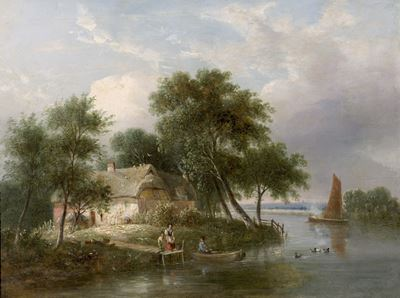 River Scene (Cottage and Trees)