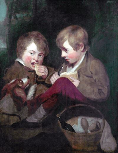 Two Boys Picnicking with a Dog