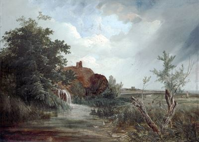 Landscape with a Cottage, a Figure and Sheep