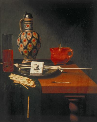 Still Life with a Stoneware Jug, Glass and Smoking Requisites