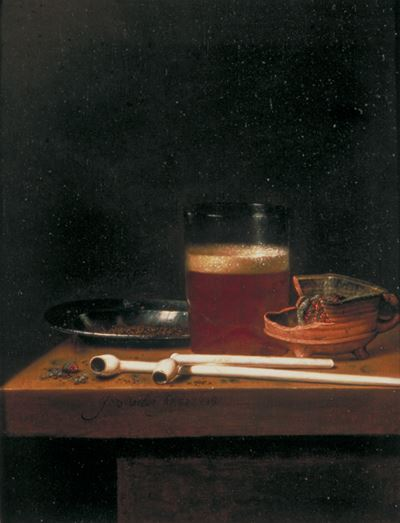 Still Life with a Glass of Beer, a Brazier and Clay Pipes