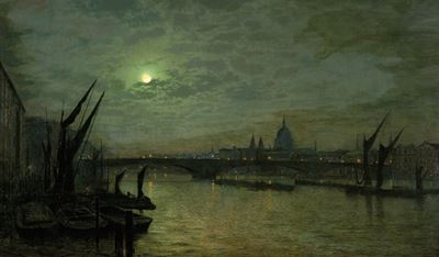 The Thames by Moonlight with Southwark Bridge, London