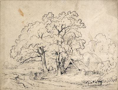 Three Trees by the Road to a Farm, with Wooden Hut and Haystack