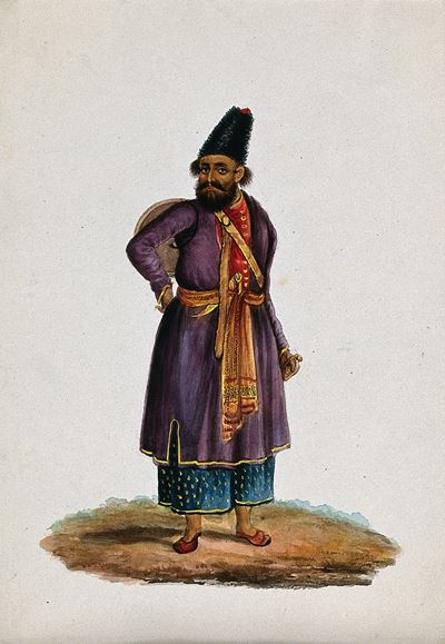 A Man from Central Asia, Carrying a Sword and a Shield