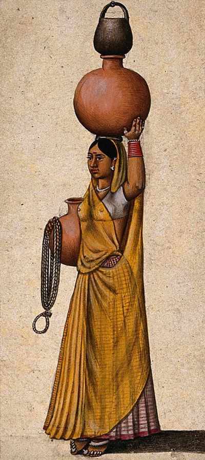 A Woman Carrying Two Earthenware Pots to Transport Water and a Rope and a Black Pot to Draw Water fr