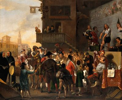 A Crowd Watching a Troupe of Quack-Doctors on a Stage Outside an Inn