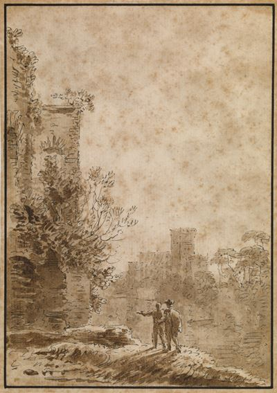 Landscape with Two Men by an Old Tower