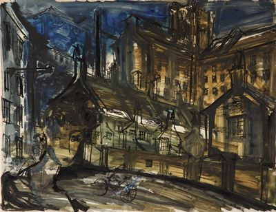 Industrial Landscape Sketch with Figure on Bicycle and Portrait